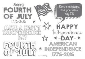 Cute Sketchy Fouth of July Typographic Labels