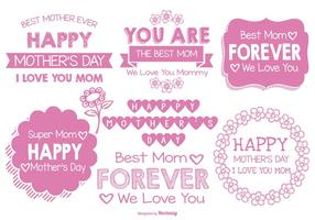 Cute Hand Drawn Style Mother's Day Labels