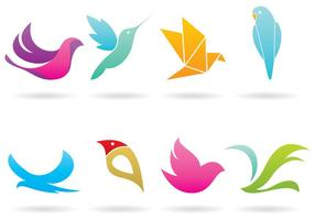 Färgglada Bird Logo Vectors