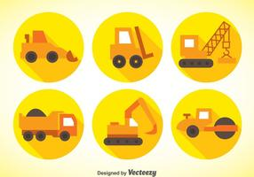 Construction Machinery Flat Icons