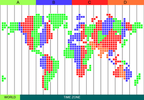 Kostenlose Zeitzone Karte Vektor