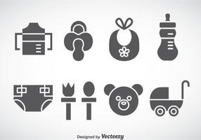 Kids And Baby Stuff Grey Icons Vector