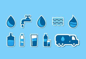 Agua water icon set