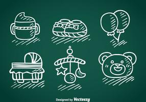 Kids And Baby Stuff Hand Draw Vector