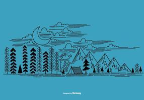 Vettore di scena di campeggio all'aperto disegnato a mano