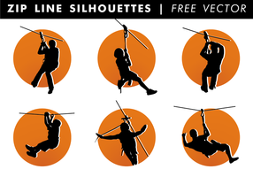 Zip Line Silhouettes Vector