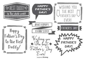 Etiquetas engomadas drenadas mano sucias lindas del día de padre del estilo
