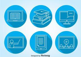 Vector de ícones de educação on-line