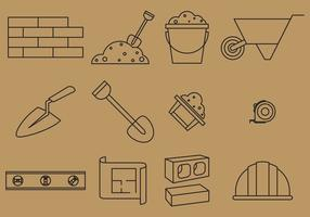 Bricklayer Line Icons