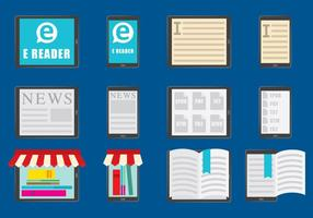 E Reader color icons vector