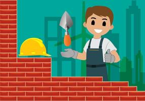 Bricklayer Building Wall Vector