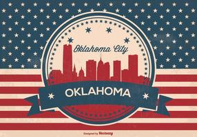 Oklahoma stadt retro skyline illustration