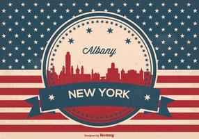 Albanien new york retro skyline illustration