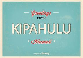 Kipahulu hawaii retro greeting illustration