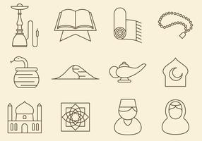 Mittlerer Osten Linie Icons