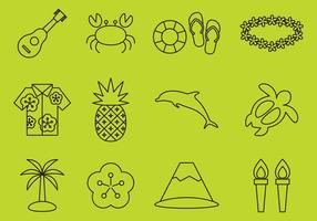 Hawaiian Line Iconos vector