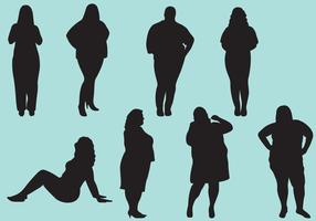 Fat Woman Silhouettes vector