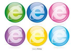 Internet explorer glas ikonuppsättning