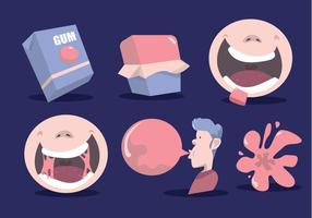 How To Bubble Gum Vector