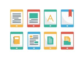Free E-Reader Flat Icons vector