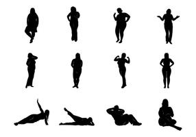 Vetor das silhuetas das mulheres gordas