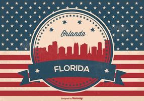 Retro Style Orlando Florida Skyline Illustration