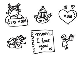 Love My Mom Badges vector