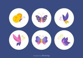 Ensemble de vecteur papillon coloré gratuit