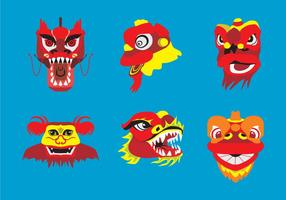 Barongsai Heads Vector