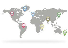 Timmar världskarta vektor