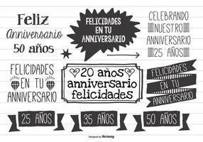 Cute Hand Drawn Style Anniversario Labels vector