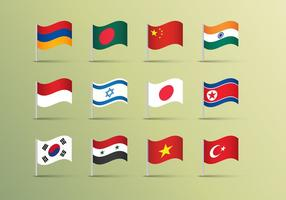 Asian Flags Illustrations Vector