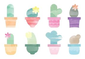 Vector Watercolor Cactus Elements