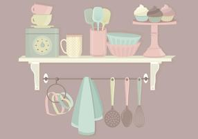 Conjunto de vetores de elementos de cozinha