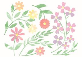 Vector Cute Watercolor Flower Elements
