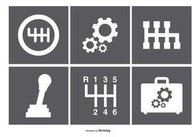 Iconos surtidos de la caja de engranajes vector