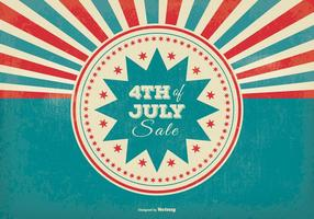 Retro Sunburst Style 4th of July Sale Illustration