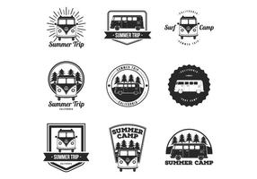 Gratis VW Camper, Zomer, Surf Camp Badges