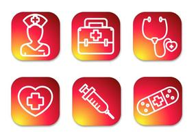 Nurse Gradient Icons vector