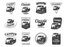 vettore di logo vintage camper vw