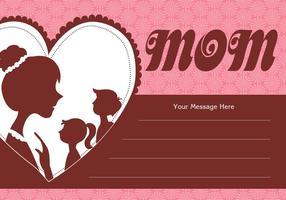 Madre y los niños Silhouette Card Vector