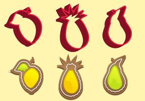 Cookie Cutter Fruit Vector Set C