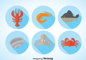 Seafood Long Shadow Vector