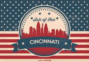 Retro cincinnati ohio skyline illustration