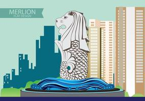 Illustration of Merlion Flat design vector