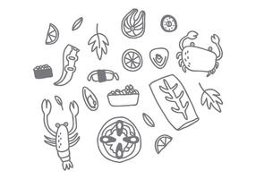 Free Style Seafood Drawing Vector