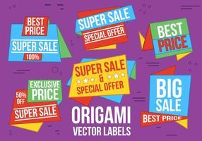 Libere las etiquetas de la venta del vector del origami