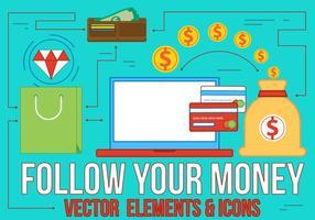 Följ dina pengar platt design vektor