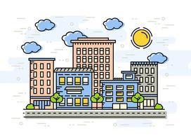 Gratis Flat Lineaire City Vector