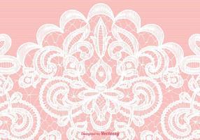 Trama di pizzo bianco vettoriale su sfondo rosa